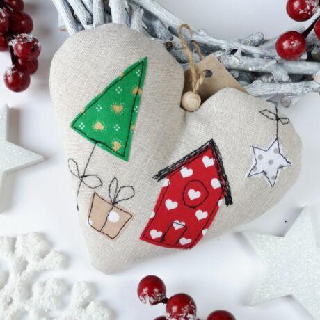 karácsonyi dekorációs szívecske