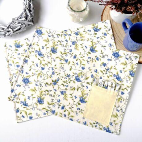 Tányér alátét-kék virág