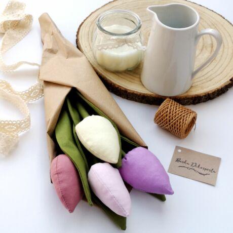 Textil tulipáncsokor-pasztell