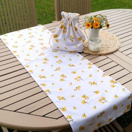 asztali futó-sárga virágos